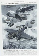 Ancienne impression vintage russian air force planes avions bombardiers c1938 fighters