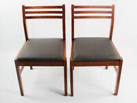 Pair of Retro Danish Style Teak Dining Chairs [ 5853 ]