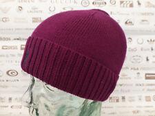 POLO RALPH LAUREN Fold-Up Beanie Cappello di lana a costine con logo Prugna skull cap NUOVO con etichetta RRP £ 50