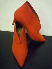 New Next Ladies Suede Ankle Shoe Boots V-Dip Front Slip On - Orange Red - Size 6