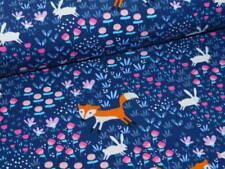 Jersey Baumwolle Baumwolljersey mit Füchsen Fuchs dunkelblau rosa weiß