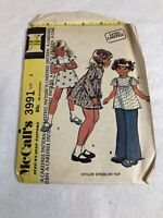 Vintage McCall's Pattern 3991 Dress or Top Child Girl Size 5
