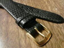 Ladies NOS Speidel 14R Black Stitchless Lizard Grain Leather Watch Band