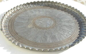 "Antique Zoroastrian Engraved Tinned Copper Tray King Darius fighting Ahriman 26"""