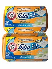 Lot of 2 Arm & Hammer Total 2 in 1 Dryer Cloths, Classic Fresh, 40 Loads