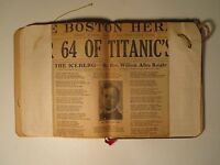 ANTIQUE 1912 SCRAPBOOK McELLIGOTT RMS TITANIC BOSTON HERALD MILLIS MA EPHEMERA