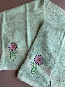 Set 2 NEW Aqua bathroom Hand Towels FLOWER purples  embroidered free ship