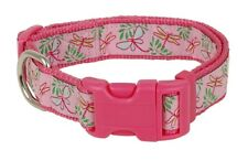 Douglas Paquette DRAGONFLIES PINK Nylon & Ribbon Adjustable Dog Collar, Harness