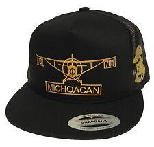 EL AVION DE MICHOACAN Y EL CHAPO GUZMAN MEXICO HAT BLACK 2 LOGOS MESH TRUCKER