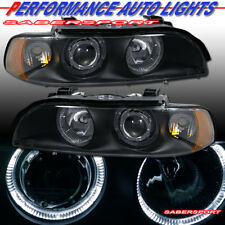 Set of Black Halo Projector Headlights (Halogen Ver) for 97-00 BMW E39 528i 540i
