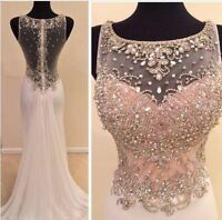 Long Chiffon Bridesmaid Formal Gown Party Cocktail Evening Prom Dresses Beaded