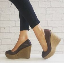 TOPSHOP Brown Leather Peep Toe Platform Raffia Espadrille Wedges Size 6 / 39