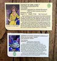 April O'Neil & Wacky Donatello TMNT Ninja Turtles Figure File Bio Card Lot Don