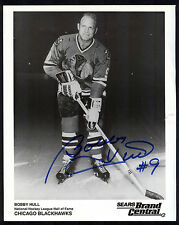 Bobby Hull #9 Chicago Blackhawks Signed 8x10 Vintage Hockey Photo COA