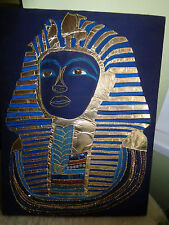 TUTANKHAMUN APPLIQUE PICTURE LARGE KING TUT EGYPT GOLD &ROYAL BLUE