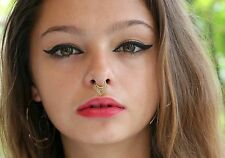 Tribal Nose ring For Non Pierced Brass Fake Septum Jewelry Piercing Curl Clip On