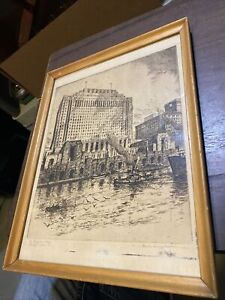 The Daily News plaza Chicago, Ill. pen etching Morris Henry Hobbs Signed
