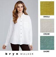 BRYN WALKER Light Linen BOYFRIEND SHIRT Big Pocket Blouse 1X 2X 3X  SPRING 2018