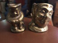 Vintage Brass Miniature Toby Jug Pair Character Jugs