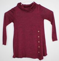 MISIA Women's Cowl Neck Asymmetrical Knit Top Size S Red Wine Long Sleeve Casual