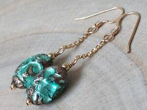 Art Deco Venetian Turquoise LAVA FOIL Glass 14ct Rolled Gold Earrings