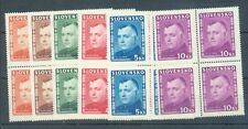 Slovakia 1945 Mgr Tiso sg.139-44 set of 5 in MNH blocks of 4 intersting forehead