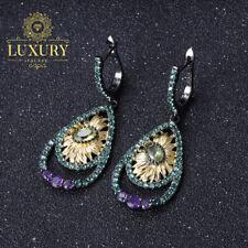 Natural Peridot Gemstones Handmade 925 Sterling Silver Sunflower Drop Earrings