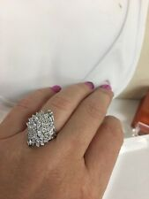Natural 10K White Gold Round Baguettes Cut Diamond Cocktail Cluster Ring 7 .60ct