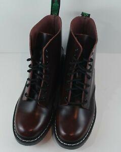 Solovair Men's Burgundy Hi-Shine Leather 8-Eye Derby Boots MSRP $215 Size 10 D