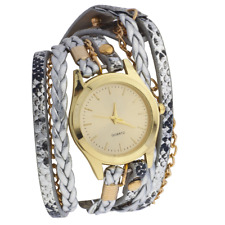 Leather Chain Braided Wrap Watch Lux Accessories GoldTone Metal Metallic
