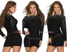 Sexy New Lady Knit Jumper Mini Dress Long Sleeve with Belt Party UK size 8/10