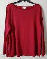 J Jill Ponte Womens Petite XL Top  Long Sleeve Wine Color