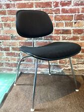 Authentic Eames Herman Miller Padded EC-127 DCM Chair Black Linen