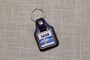 Saab 9000 CS Keyring - Leatherette & Chrome Keytag