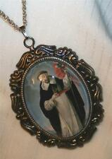Lovely Leaf Rimmed St. Bernard of Clairvaux Glass Cameo Medal SilvertoneNecklace