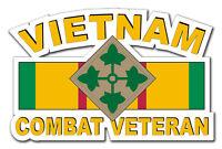 "Vietnam 4th Infantry Div Combat Veteran 5.5"" Window Sticker Decal"