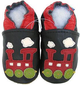 carozoo train black 6-12m C1 soft sole leather baby shoes