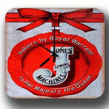 Jones Sewing Machine ADVERTISEMENT VINTAGE METAL TIN SIGN STYLE WALL CLOCK