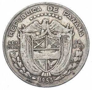 SILVER Roughly Size of Quarter 1953 Panama 1/4 Balboa World Silver Coin *133