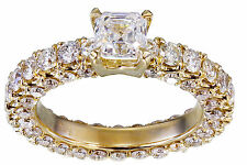 14K Yellow Gold Asscher Cut Diamond Engagement Ring Prong Bridal Natural 2.60ctw