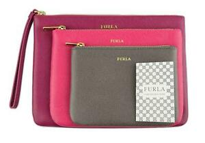 Furla Royal Leather Clutch Envelope Purse Bag Pouch Set of 3