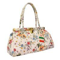 Ladies Womens REAL Italian Leather Floral Print Padlock Shoulder Satchel Handbag