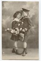 c 1913 Child Children SAILOR Suit Girl Kid Romance photo postcard