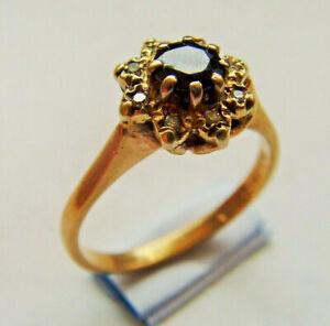 9ct Gold Sapphire & Diamond Cluster Ring U.K Size K 1/2 Hallmarked