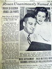 1953 newspaper JUDAICA Cleveland Indians AL ROSEN voted Amer League baseball MVP