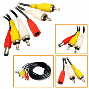 50m CCTV Cable DVR RCA AV Audio Video Phono Power Supply Security Camera Lead