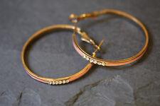 Beautiful Pink Gold Metal rhinestone Diamante Big Dangle Drop Earrings 1980'
