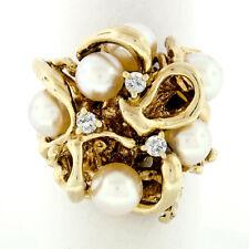 Vintage 14k Oro Giallo 0.15ctw Diamante Rotondo & 6mm Rosa Perle Massiccio