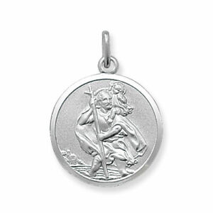 925 Sterling Silver St Christopher Round Pendant 20mm
