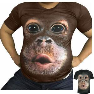 Funny 3D Monkey Face Gorilla T-Shirt Orangutan Cosplay Short-sleeve Shirt Summer
